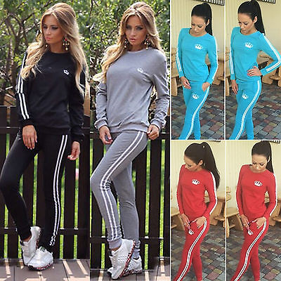 2Pcs Womens Tracksuit Set Sweatshirt Tops Track Pants Trousers Suit Loungewear