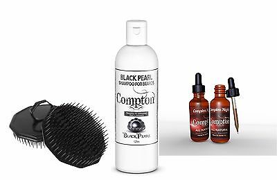 Compton Black Pearl Beard Shampoo Beard oil & Beard Brush Set