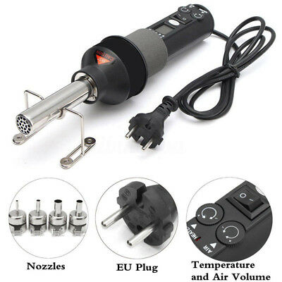 Portable 450W LCD Display Electronic Hot Air Heat Gun Soldering Station + Nozzle