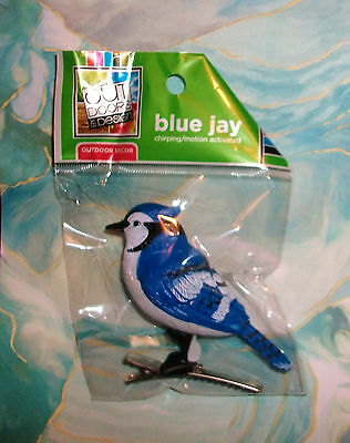 """Motion Activated Chirping Singing Blue Jay Bird Clip-on Ornament 3"""" NIP"""