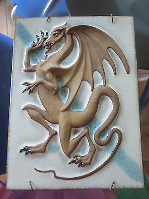 Scandinavian Vintage Ceramic Wall Plaque Relief Tile with a Dragon
