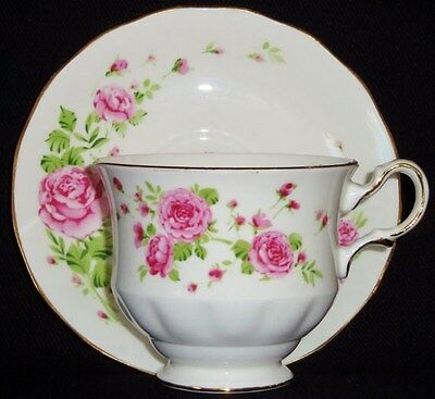 VINTAGE 1974 AVON Pink Roses China Cup & Saucer-NEW IN BOX-FREE SHIPPING