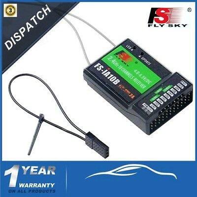 Flysky FS-iA10B 2.4G 10CH Receiver PPM Output + iBus Port For RC Helicopter -AU