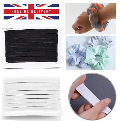 12mm Wide Flat Black or White Strong Woven Elastic Waist Band Sewing Dressmaking