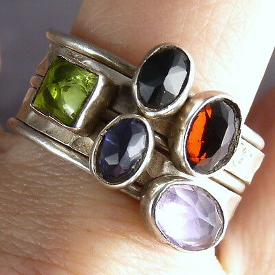 STACK 5 Rings SilverSari Size US 9.5 Solid 925 Sterling Silver MULTIGEM