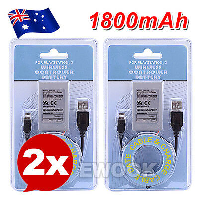 2X Wireless For PS3 Controller Battery Playstation 3 Li-ion Battery 3.7V 1800mAh