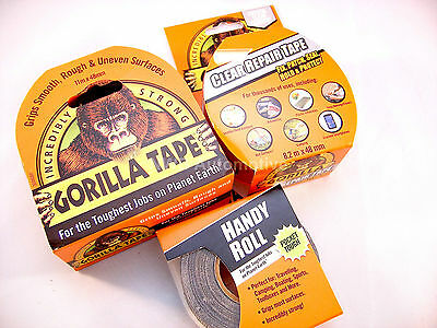 Gorilla Tapes X 3, Handy Roll, Extra Strong Full Size Roll & Clear Repair Tape