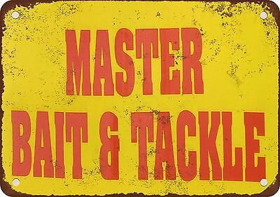 """7"""" x 10"""" Metal Sign - Master Bait & Tackle - Vintage Look Reproduction"""