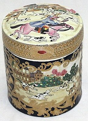 Family-Rose Antique Porcelain Big Pot With  Lid,signed Red Seal,hunting Scenes