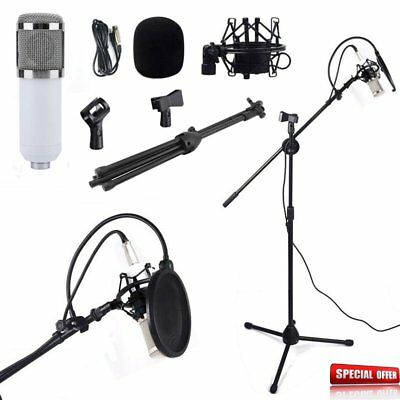 Condenser Microphone Studio Recording Mic w/ 360° Rotat Boom Stand + Filter BT