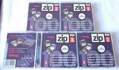 5 Zip 100 Genuine Iomega Disks Used Fat Formatted Bootable Good Condition