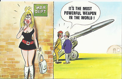 Vintage 1970's Bamforth's COMIC Postcard (As new Condition) POWERFUL WEAPON #378