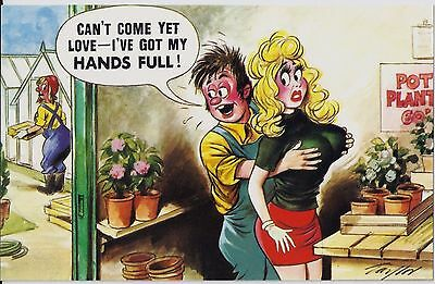 Vintage 1970's Bamforth COMIC Postcard (As new condition) Hands full #377