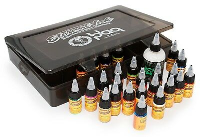 100% Authentic Eternal Tattoo Ink Travel Kit 25 x 1/2oz Colours - UK Supplier