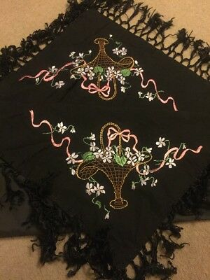 Victorian Black Hand Embroidered Piano Shawl Tablecloth Table centre