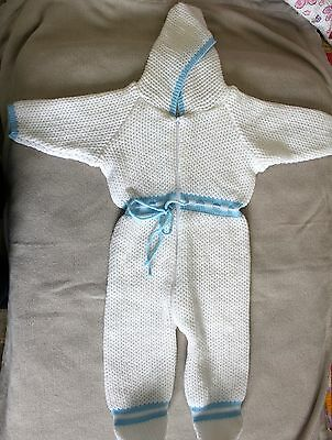 Baby Size 1 Vintage Knitted Hooded Bodysuit Acrylic