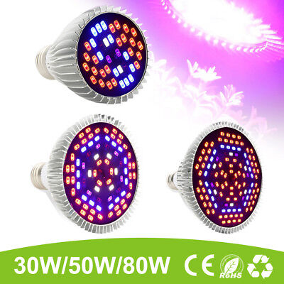 30W 50W 80W E27 LED Grow Light Lampe Panel Voll Spektrum Pflanze Blumen Gemüse