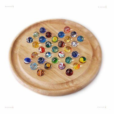 Handmade Glass Marbles Solitaire Game, Natural Wood, 23cm