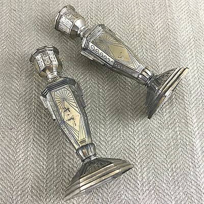Pair of Candlesticks French Art Deco Silver & Gold Plate on Pewter 1920s