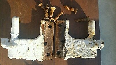 2 Antique  Cast Iron Shutter Hinges Parts Original Hardware Left & Right Dog