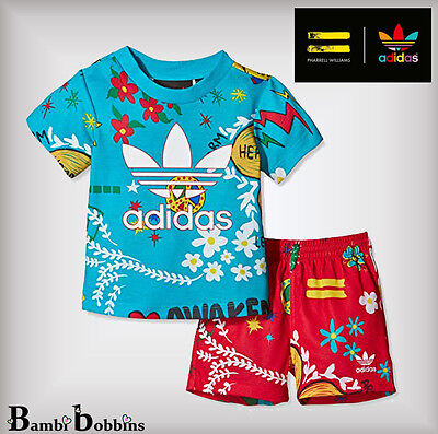 Adidas Pharrell Williams Baby Boys Girls Outfit Tee Shorts Age 3-6-9-12 Months