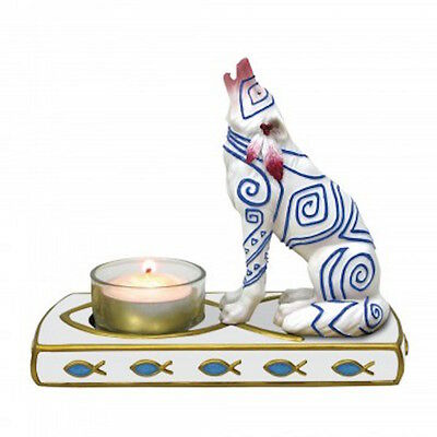 Howling Wolf Figurine w Tealight Holder Call of the Wild White Fish Westland