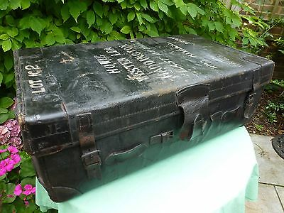 Large Vintage Travel Chest Trunk, Historic, Great Patina Carry Handel's Leather