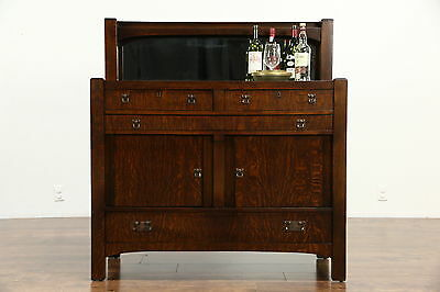 Arts & Crafts Mission Oak Antique 1905 Craftsman Sideboard, Server or Buffet