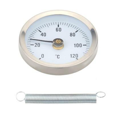 0-120° Bimetal Stainless Steel Surface Pipe Thermometer Clip-on Temp Gauge A0F1