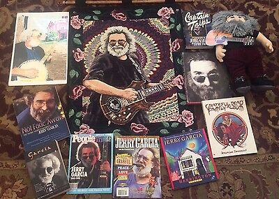 JERRY GARCIA  Memorabilia -Large Lot - Gund doll, Tapestry, Print, Books