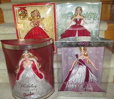 2001, 2005, 2014 (with ornament) & 2015 Holiday Barbies - 4 dolls - NRFB