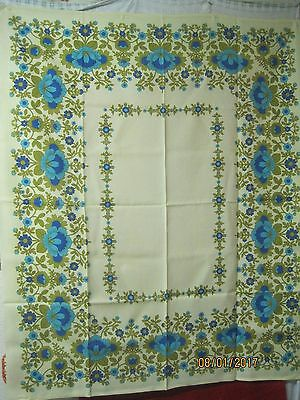 Vintage linen/cotton German Tablecloth yellow gold blue turquoise