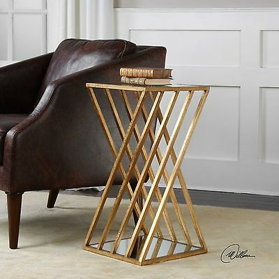 Small Modern Contemporary Gold Metal Iron Gl Janina Accent End Side Table 13w