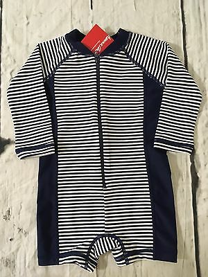 Hanna Andersson Rash Guard Swimmy Swimsuit Navy Stripe Boys Size 75 12-18 Mo NWT
