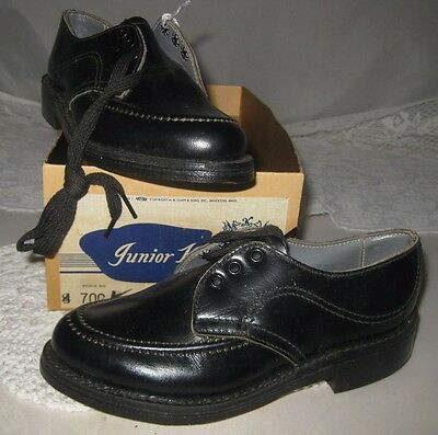 **VINTAGE JUNIOR KINGS CHILDREN'S LEATHER BLACK SHOES** Never Used Size 9
