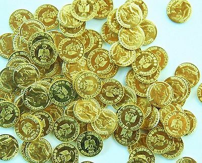 100 CT 1865 Max Peso Gold tone party favors 8-22K toy metal 44 GRAMS Scrap coins