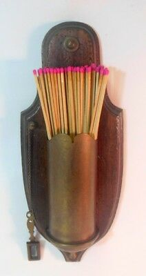 Vtg Wood & Brass Large MATCH Holder & Striker Fireplace Hearth Wall Country