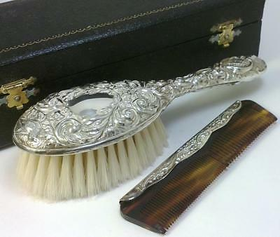 Cased Vintage hallmarked Sterling Silver-backed Child's Hair Brush & Comb – 1978