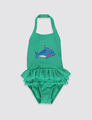 BNWT M&S Baby Girls Dolphin Print Swimming Costume Swimsuit 9-12 Months