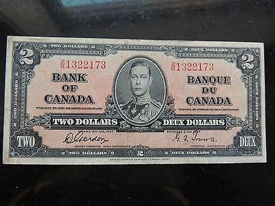 1937 BANK OF CANADA $ 2 TWO DOLLARS BC-22b GORDON TOWERS CHANGEOVER Z/B 1322173