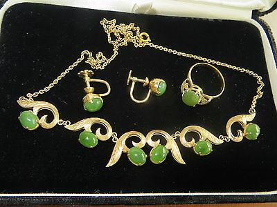 Antiq.Victorian/Art Deco 10k Solid Gold Set Necklace/Earrings/Ring w/Real Jade