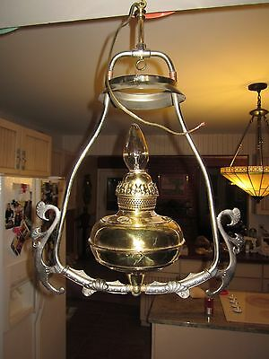 Bradley & Hubbard B&H hanging brass  oil lamp electrified
