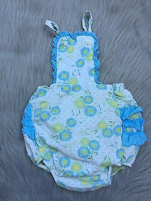 Vintage Baby Girls Plastic Lined Ruffle Sunsuit Romper Blue Yellow Floral