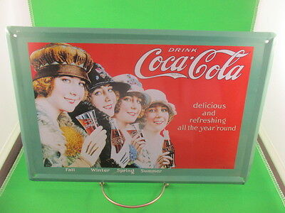 COKE Metal Tin Picture Plaque Ladies Retro 4 Seasons