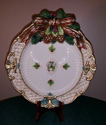 Fitz & Floyd Classic Florentine Christmas Canape Plate Raised Bow Holiday Server