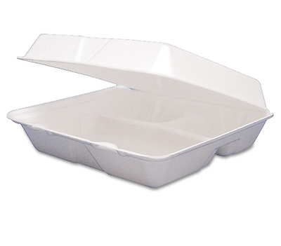 3 Compartment Styrofoam Take Out Container Large Restaurant Togo Box Hinged Lid