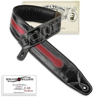 Walker & Williams C-34 Black & Red Premium Double Padded Leather Guitar Strap