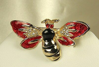 Spectacular! Vintage RED ENAMEL BEE Pin~Red & Crystal RHINESTONES~Excellent Cond