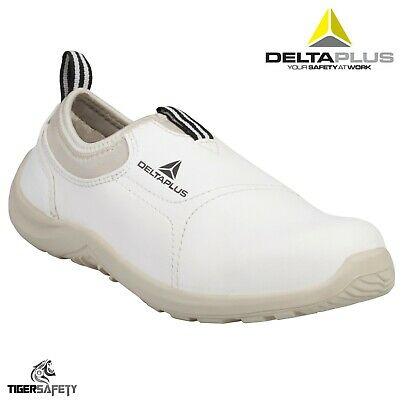 Delta Plus Miami S2 Mens White Microfibre Slip On Steel Toe Safety Trainers PPE
