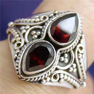 Granulation Lace Size US 5.75 Double Gem SILVERSARI Ring Solid 925 Silver/GARNET